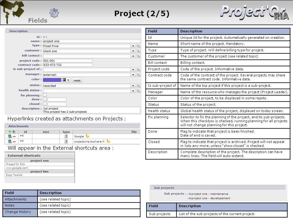 Project (2/5) Fields Hyperlinks created as attachments on Projects :