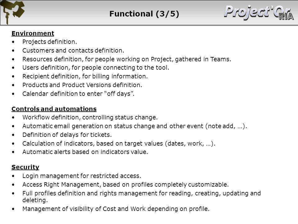 Functional (3/5) Environment Projects definition.