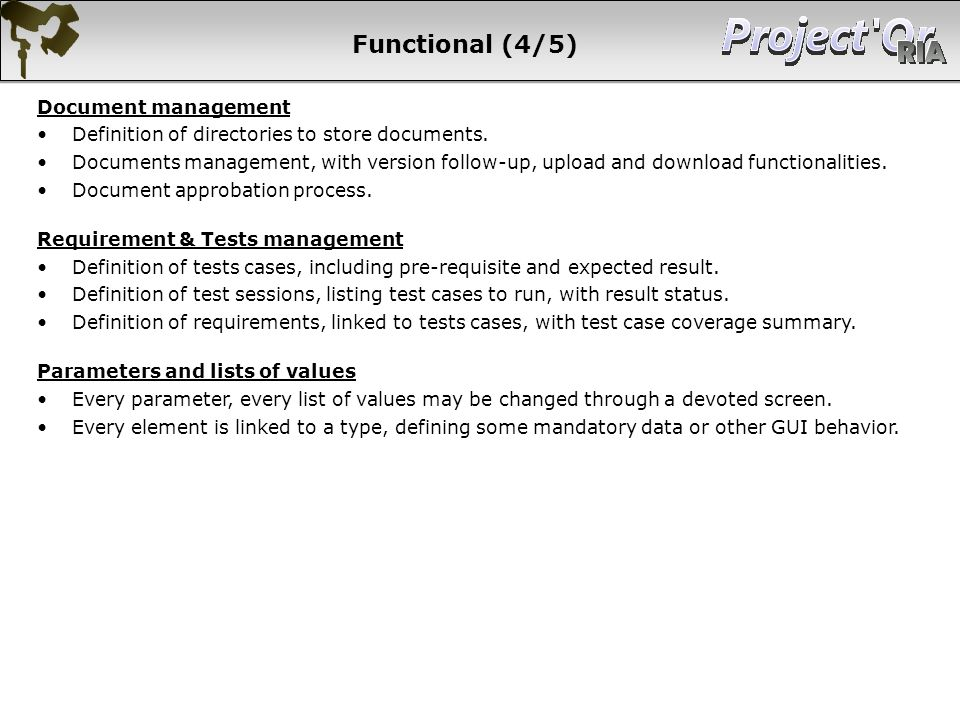 Functional (4/5) Document management