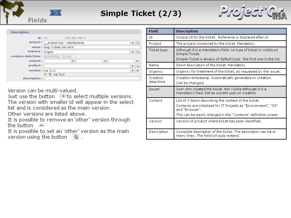 Simple Ticket (2/3) Fields Version can be multi-valued.
