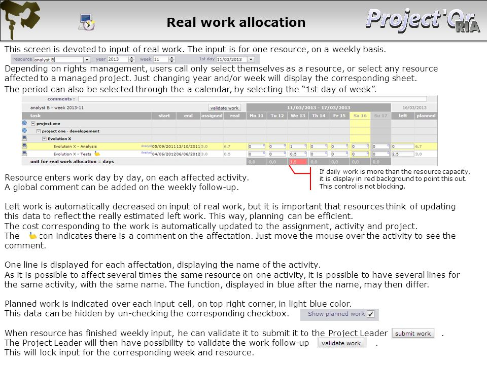 Real work allocation This screen is devoted to input of real work. The input is for one resource, on a weekly basis.