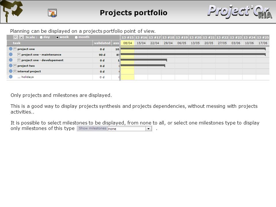 Projects portfolio Planning can be displayed on a projects portfolio point of view. Only projects and milestones are displayed.