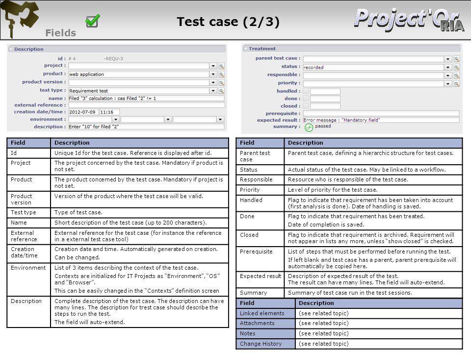 Test case (2/3) Fields 78 78 78 78 Field Description Id