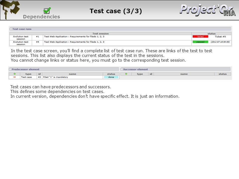 Test case (3/3) Dependencies