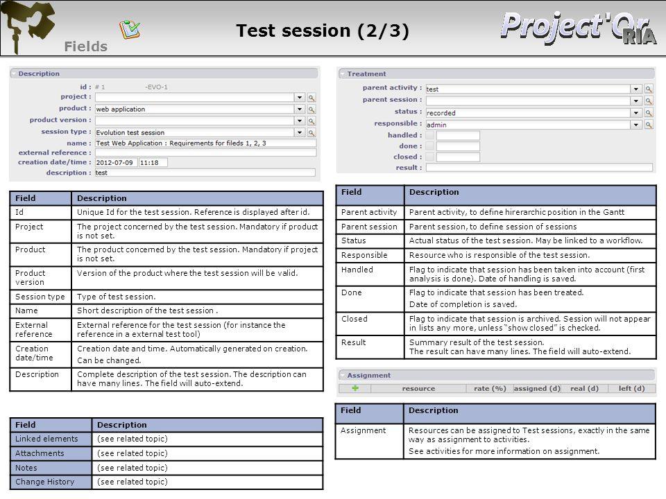 Test session (2/3) Fields 81 81 81 81 Field Description