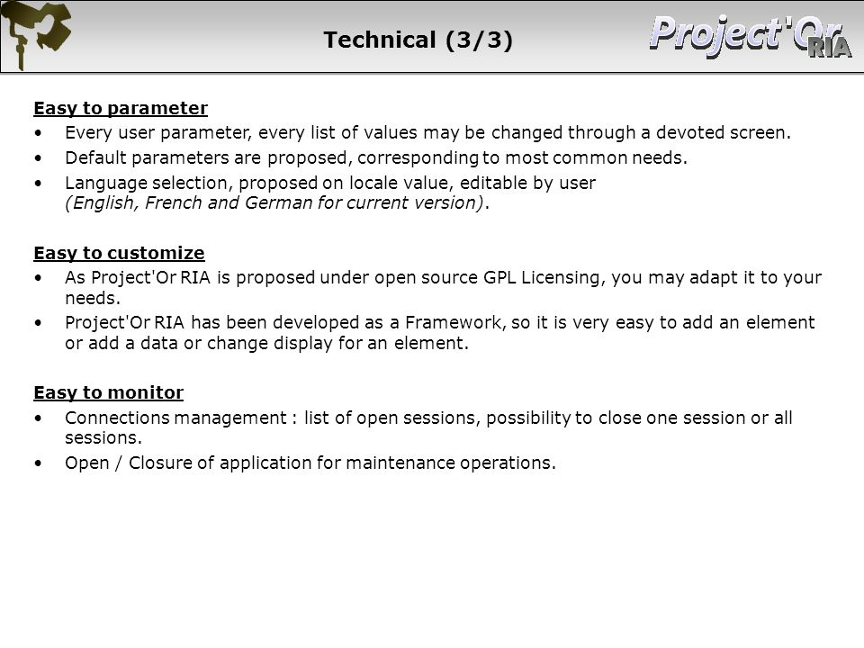 Technical (3/3) Easy to parameter