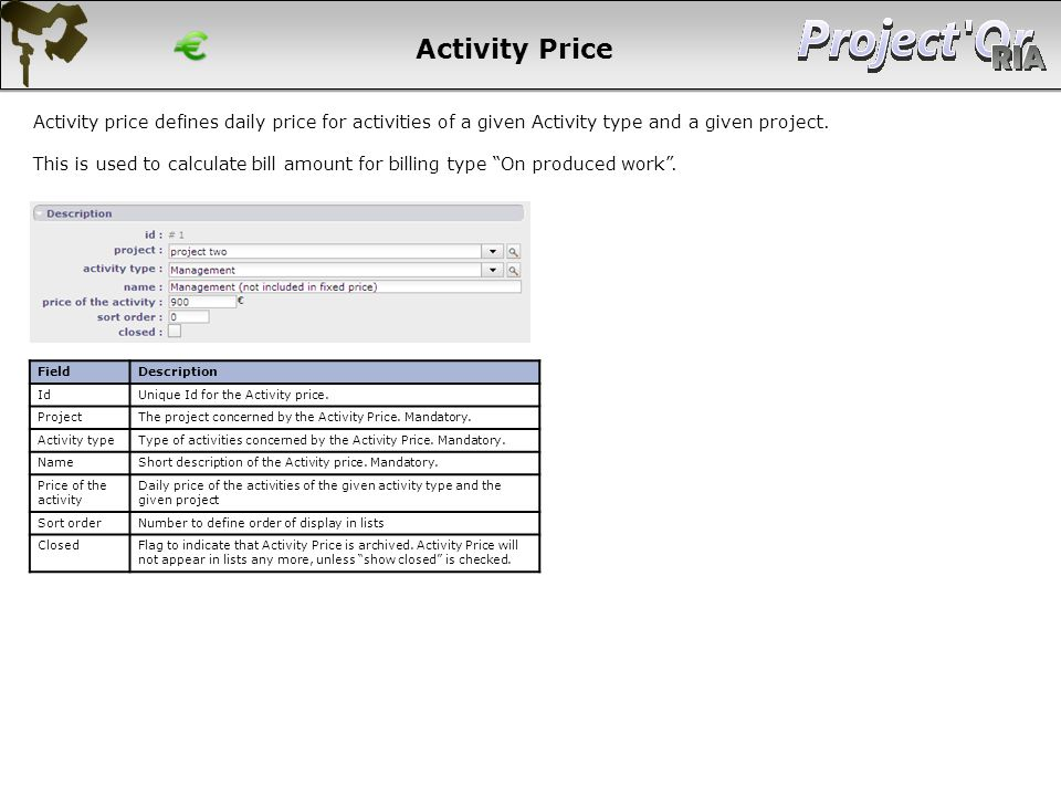 Activity Price Activity price defines daily price for activities of a given Activity type and a given project.