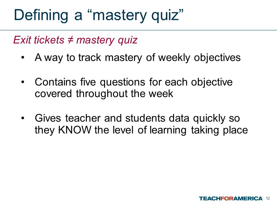 Defining a mastery quiz