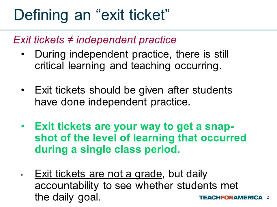 Defining an exit ticket