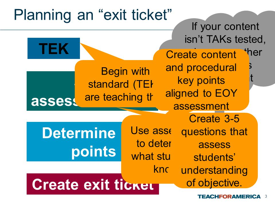 Planning an exit ticket