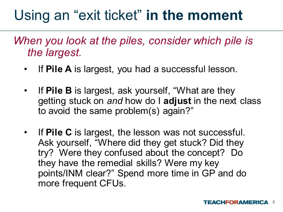Using an exit ticket in the moment
