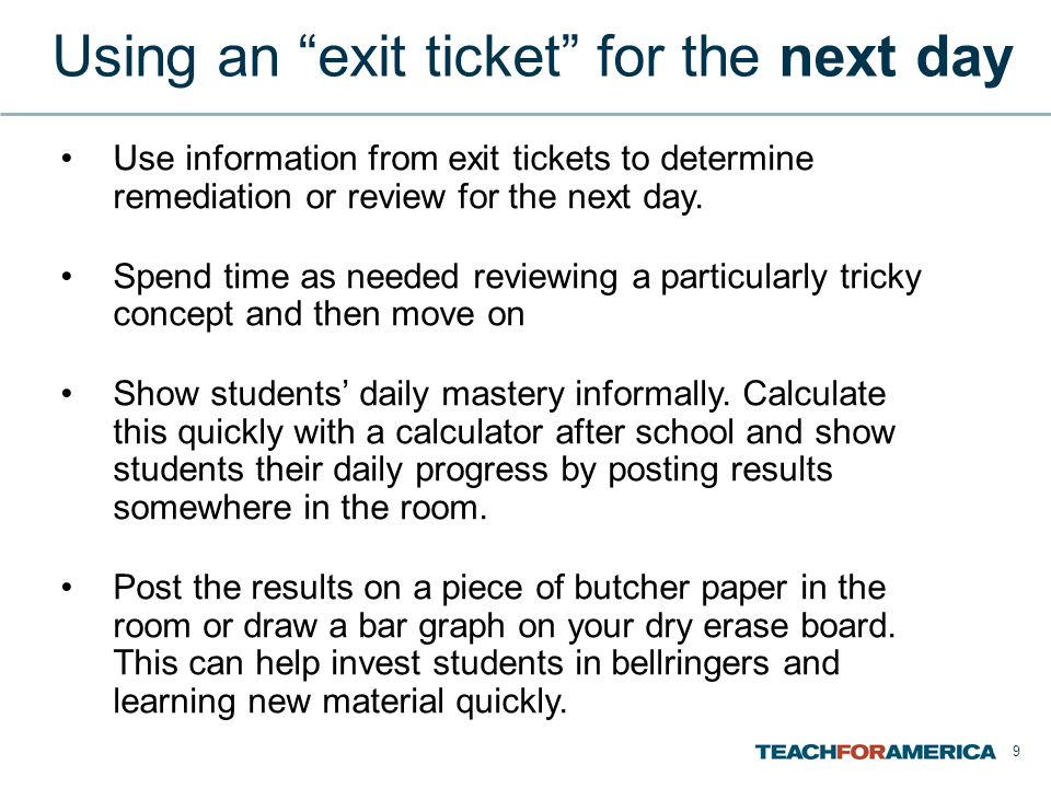 Using an exit ticket for the next day