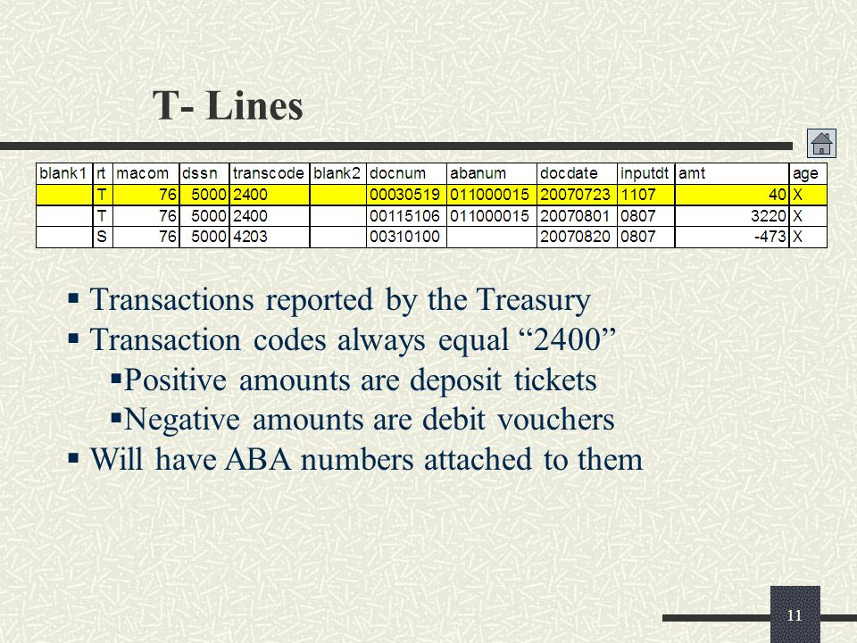 T- Lines Transactions reported by the Treasury