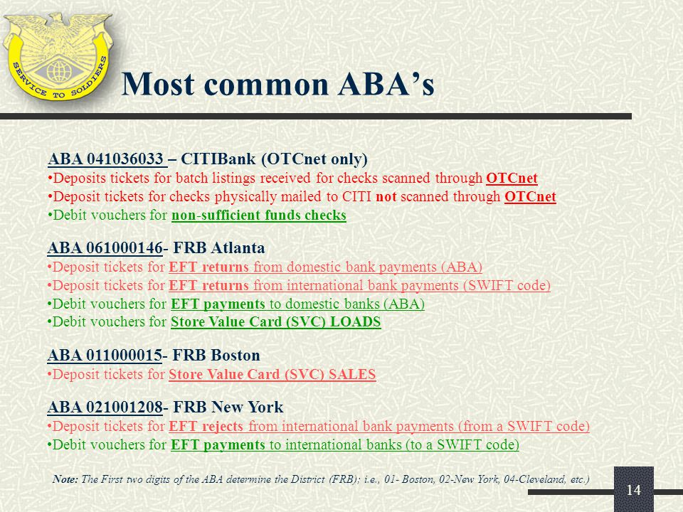 Most common ABA's ABA 041036033 – CITIBank (OTCnet only)