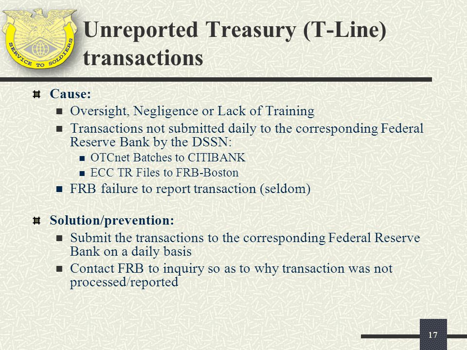 Unreported Treasury (T-Line) transactions