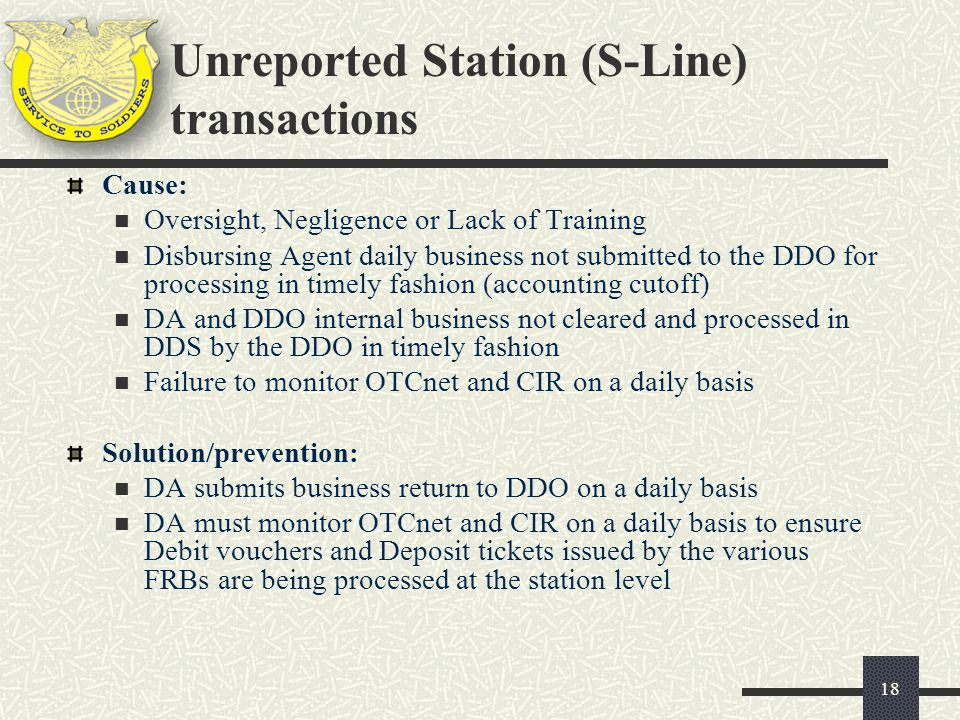 Unreported Station (S-Line) transactions