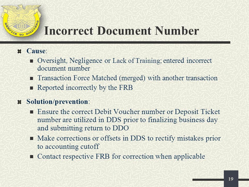 Incorrect Document Number