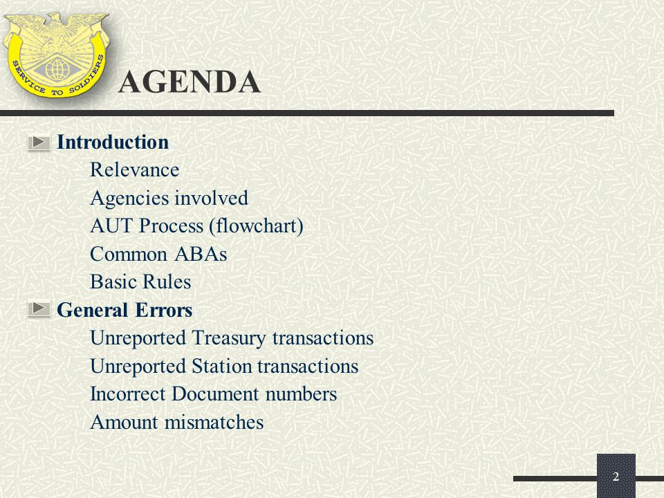 AGENDA Introduction Relevance Agencies involved