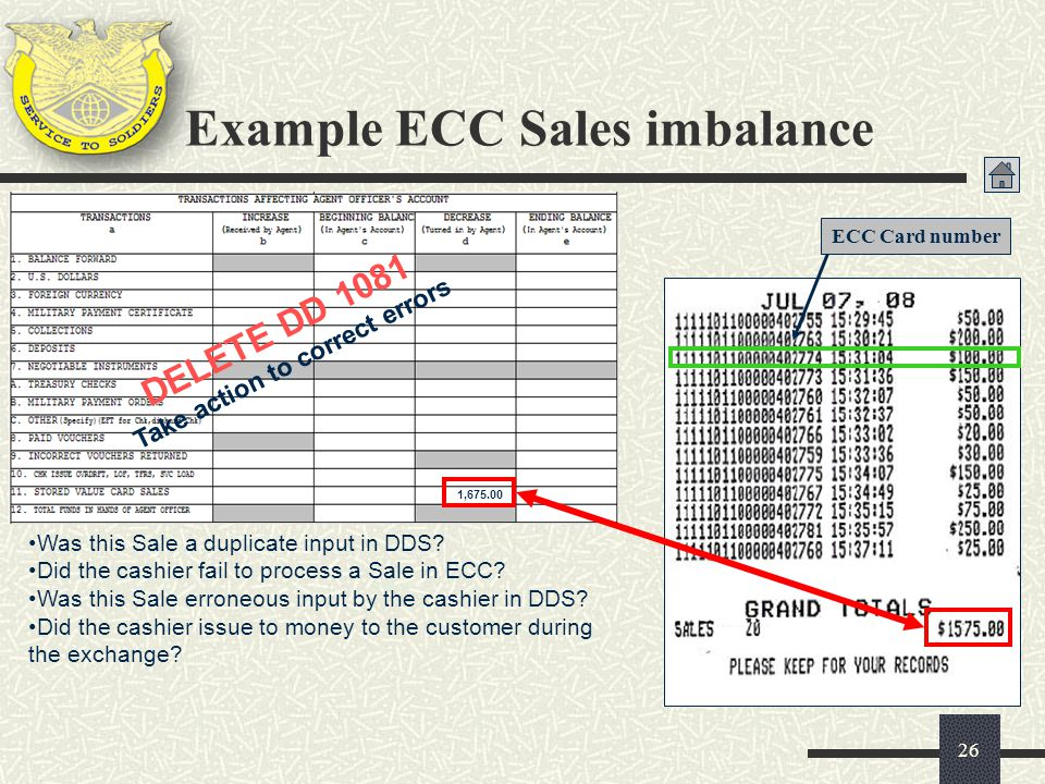 Example ECC Sales imbalance