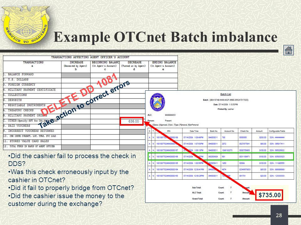Example OTCnet Batch imbalance