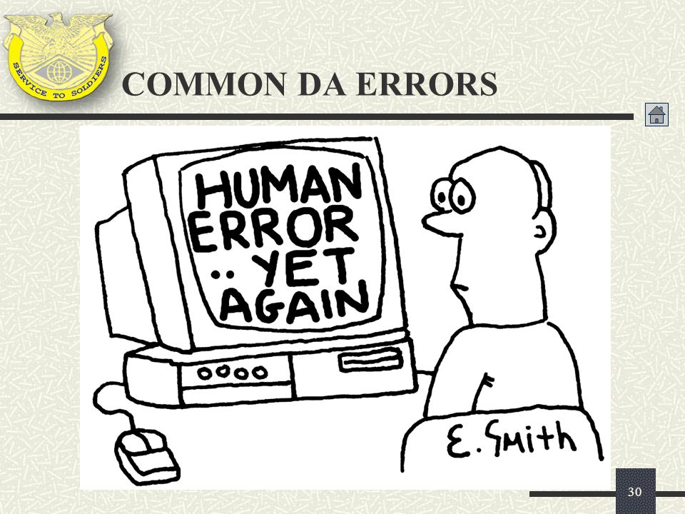 COMMON DA ERRORS