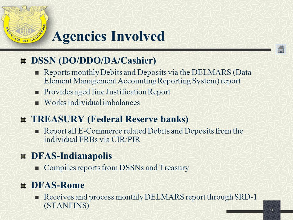 Agencies Involved DSSN (DO/DDO/DA/Cashier)