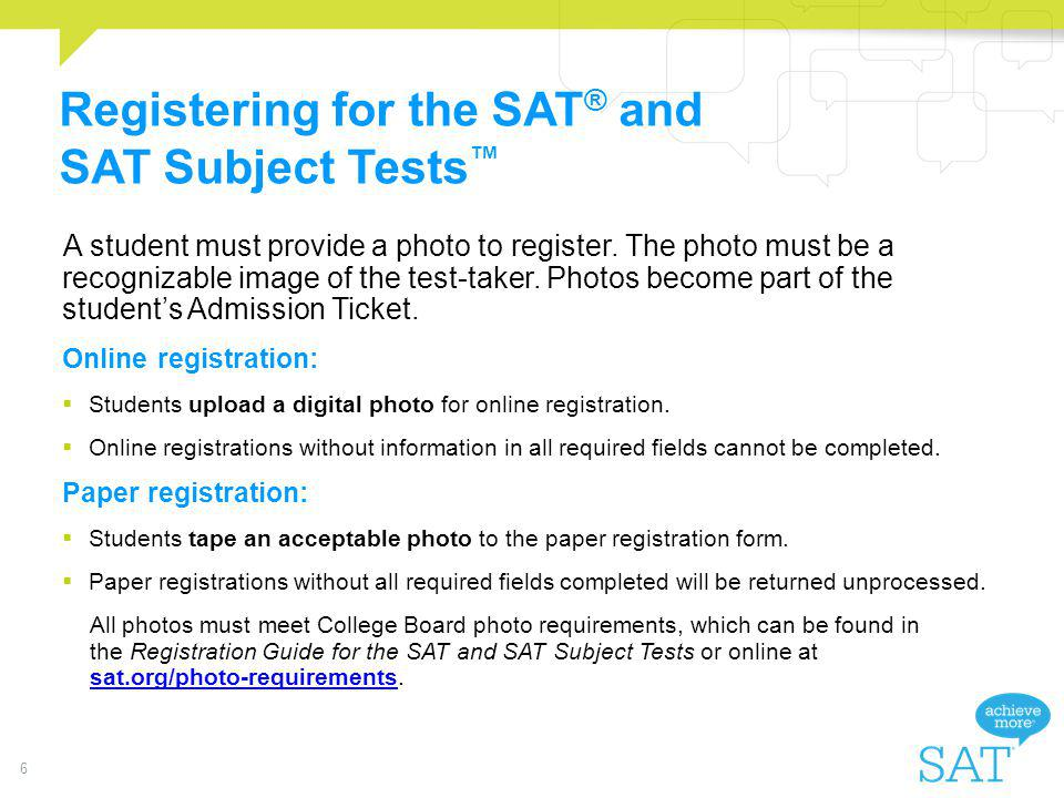 Registering for the SAT® and SAT Subject Tests™
