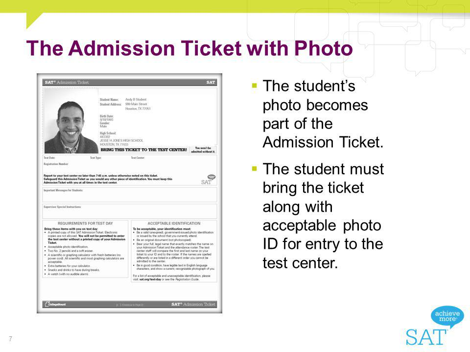 The Admission Ticket with Photo
