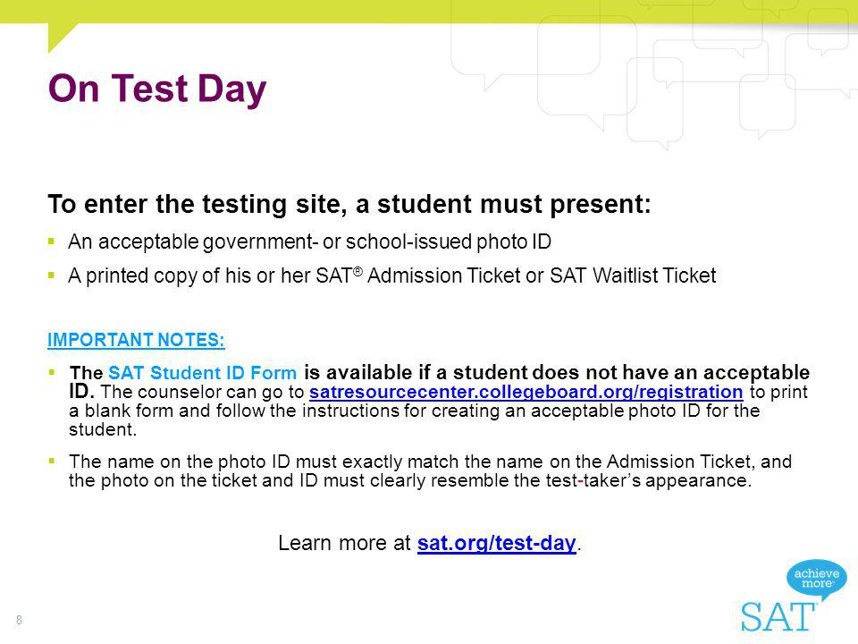 Learn more at sat.org/test-day.