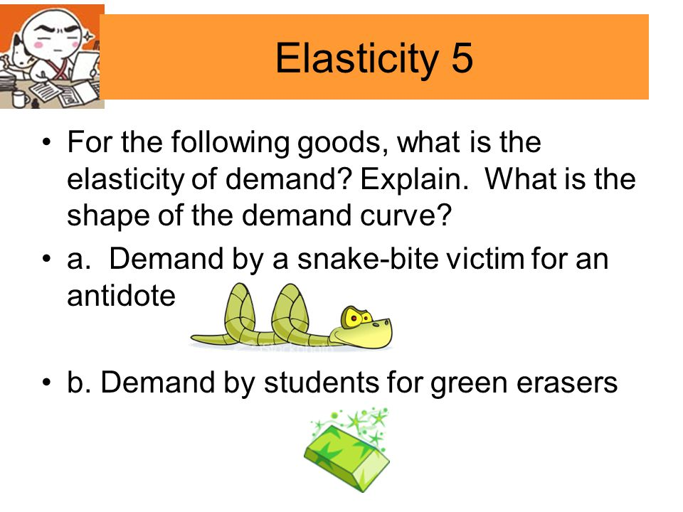 Elasticity 5 For the following goods, what is the elasticity of demand Explain. What is the shape of the demand curve