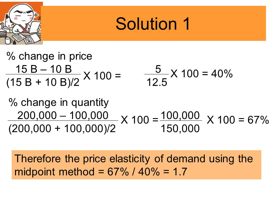 Solution 1 % change in price 15 B – 10 B 5 (15 B + 10 B)/2 12.5
