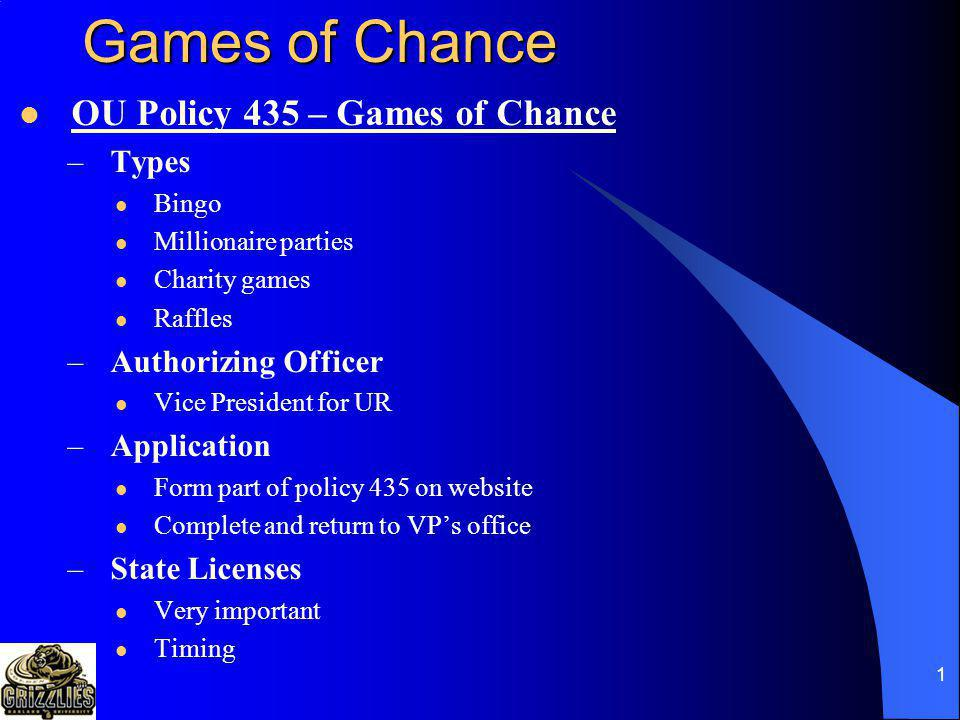 Games of Chance OU Policy 435 – Games of Chance Types
