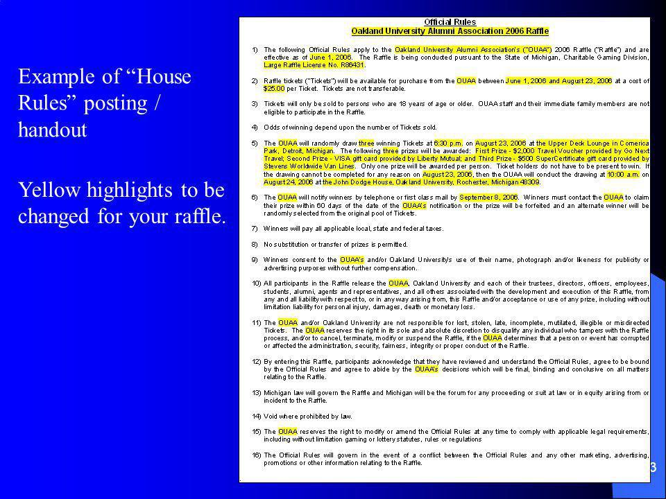 Example of House Rules posting / handout