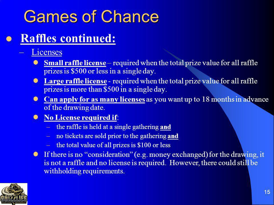 Games of Chance Raffles continued: Licenses