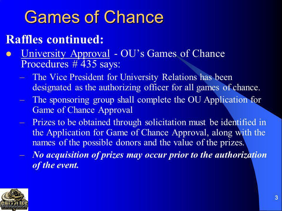 Games of Chance Raffles continued: