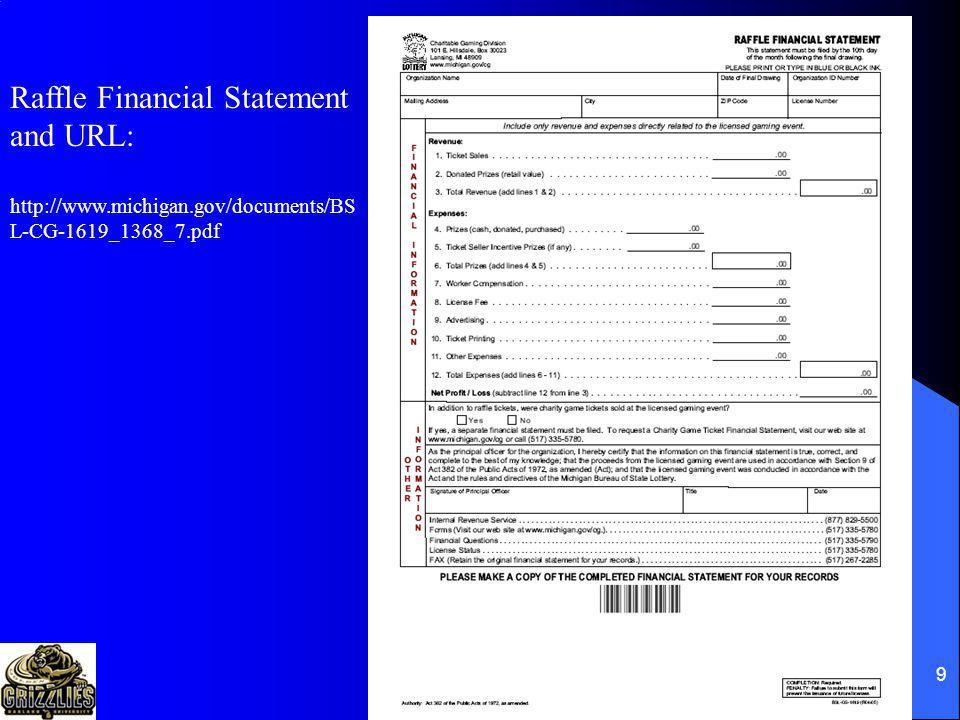 Raffle Financial Statement and URL: