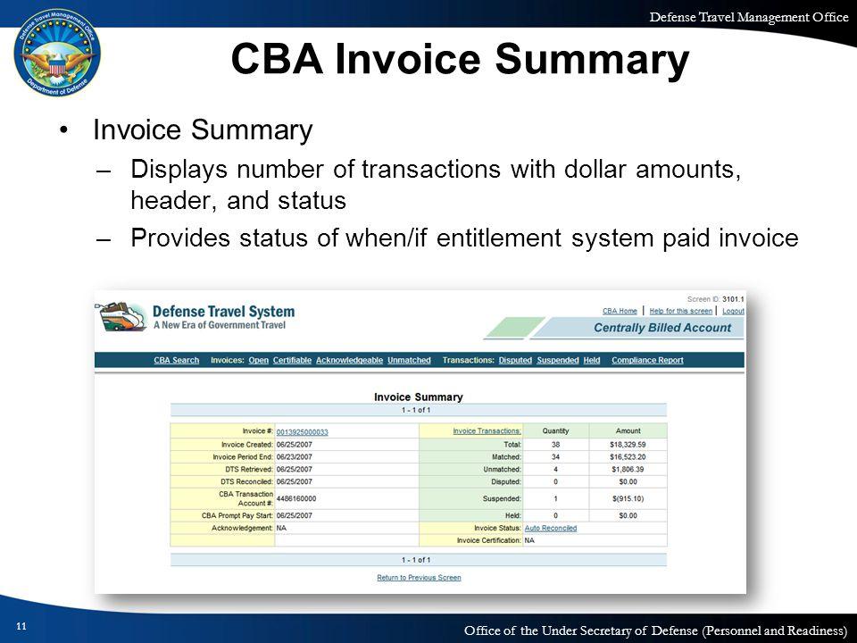 CBA Invoice Summary Invoice Summary