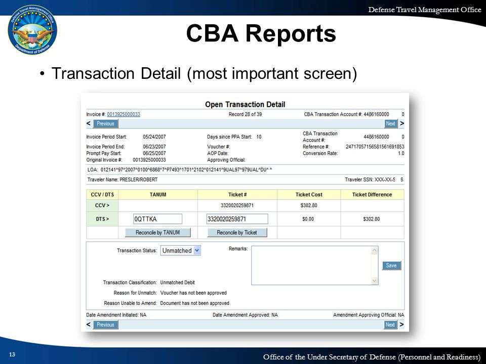 CBA Reports Transaction Detail (most important screen)