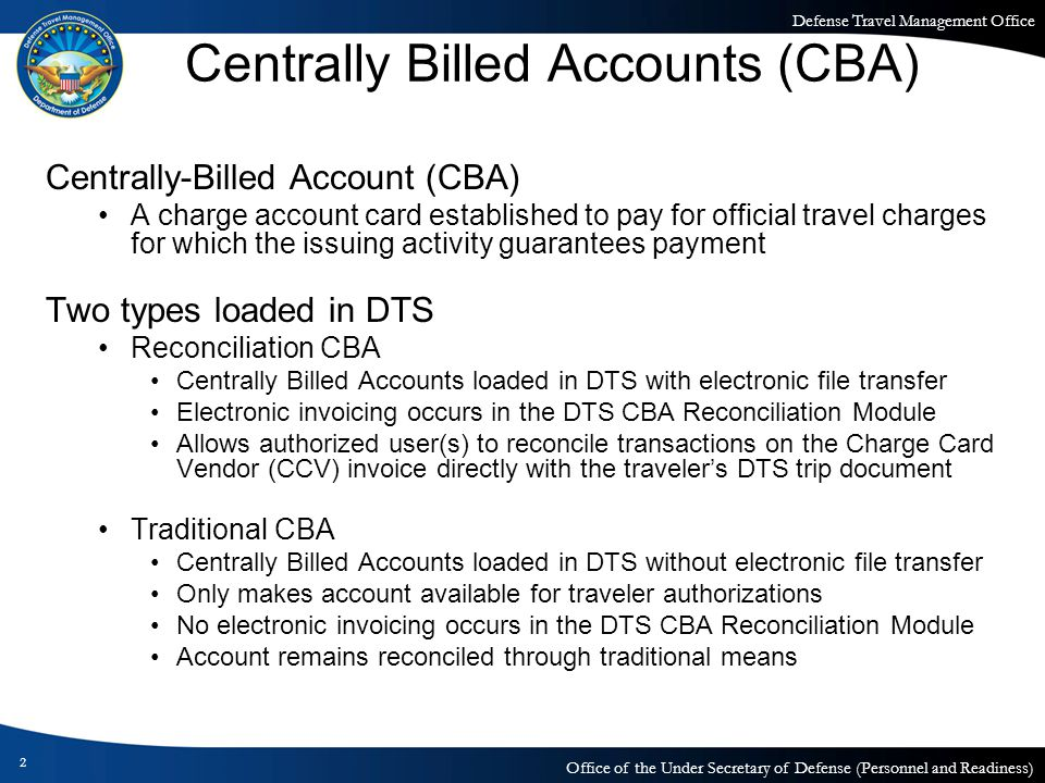 Centrally Billed Account (CBA) Reconciliation Module ...