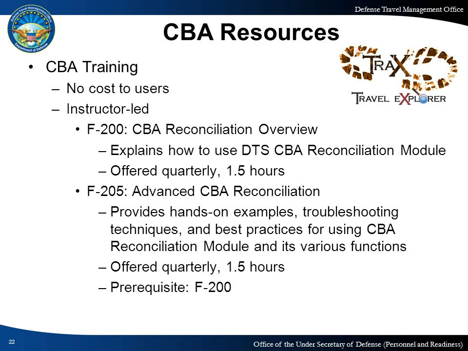 CBA Resources CBA Training No cost to users Instructor-led