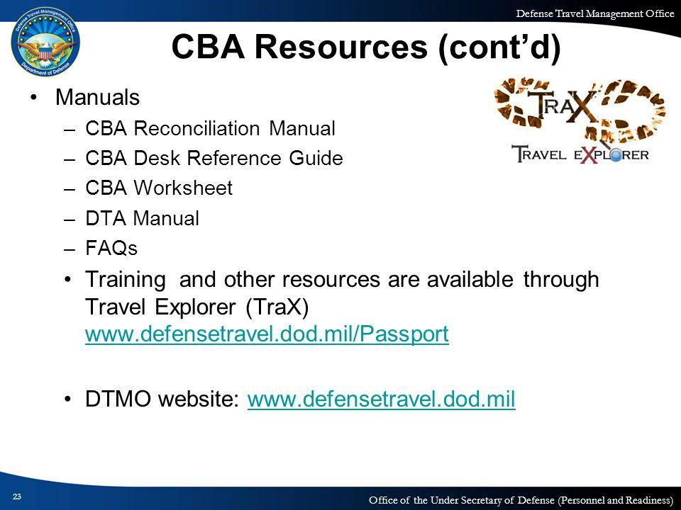 CBA Resources (cont'd)