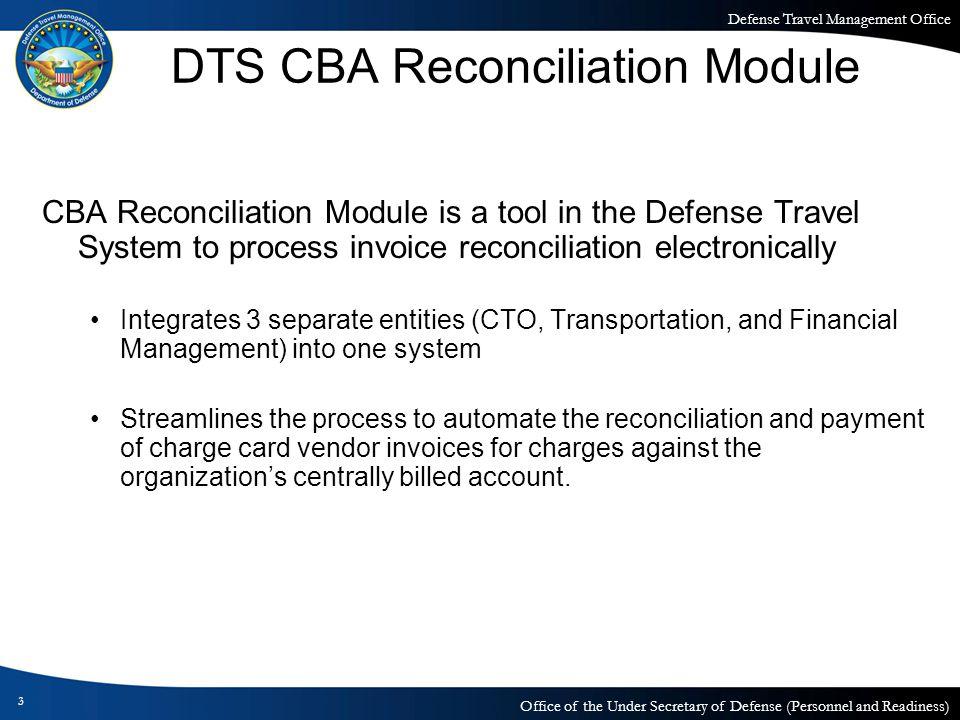 DTS CBA Reconciliation Module