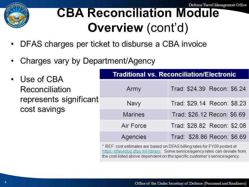 CBA Reconciliation Module Overview (cont'd)