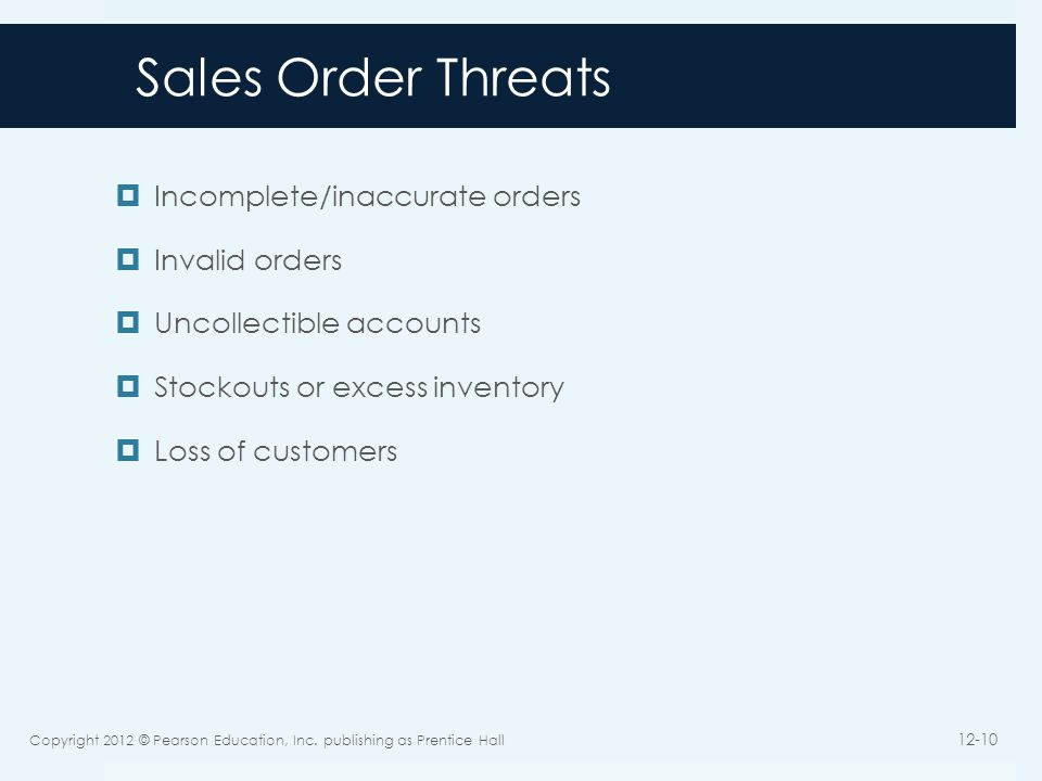 Sales Order Threats Incomplete/inaccurate orders Invalid orders