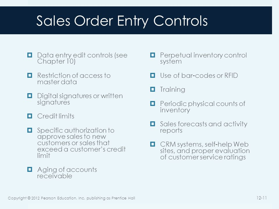 Sales Order Entry Controls