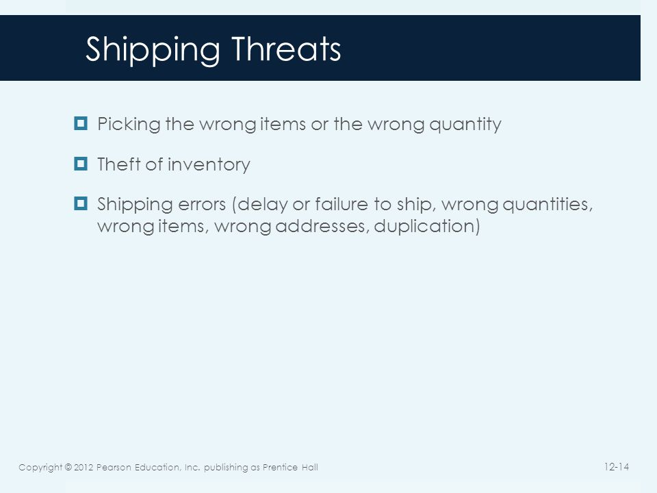 Shipping Threats Picking the wrong items or the wrong quantity