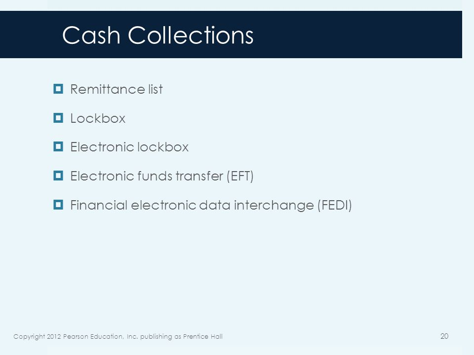 Cash Collections Remittance list Lockbox Electronic lockbox