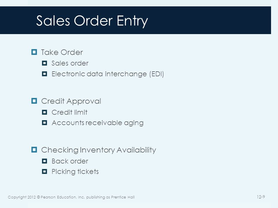 Sales Order Entry Take Order Credit Approval