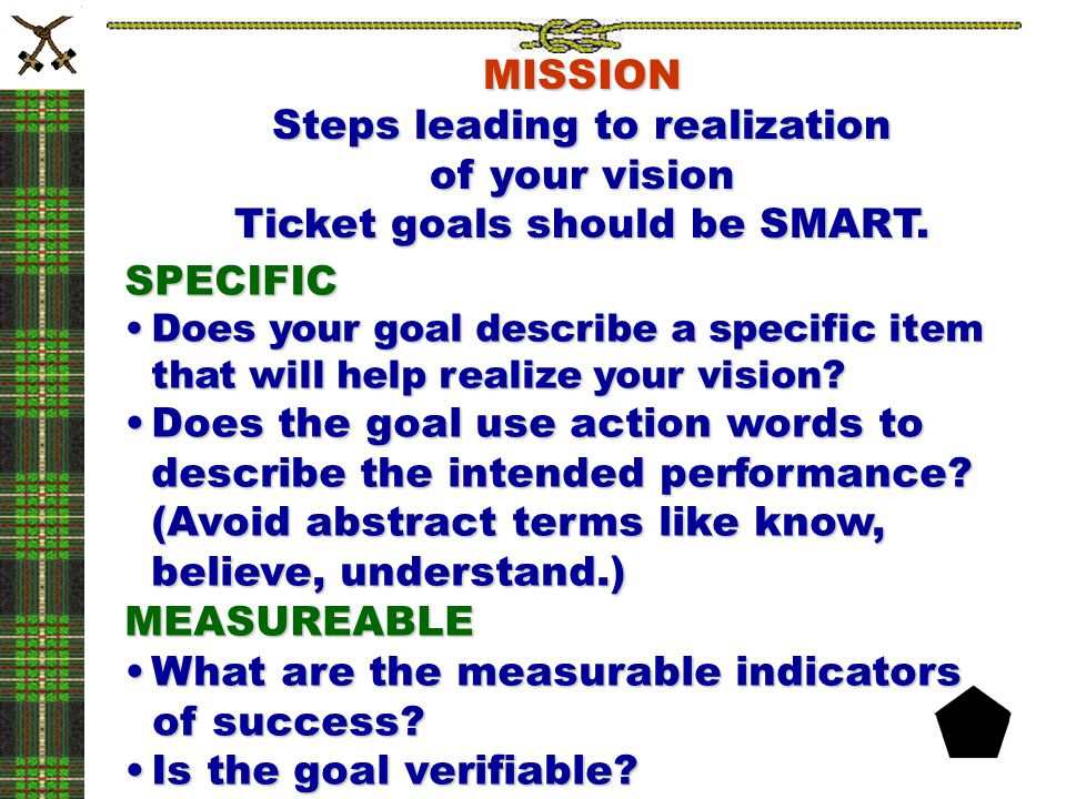 Steps leading to realization of your vision