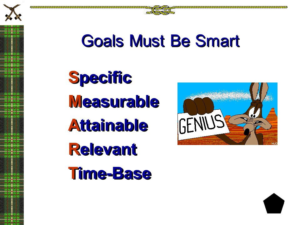 Goals Must Be Smart Specific Measurable Attainable Relevant Time-Base